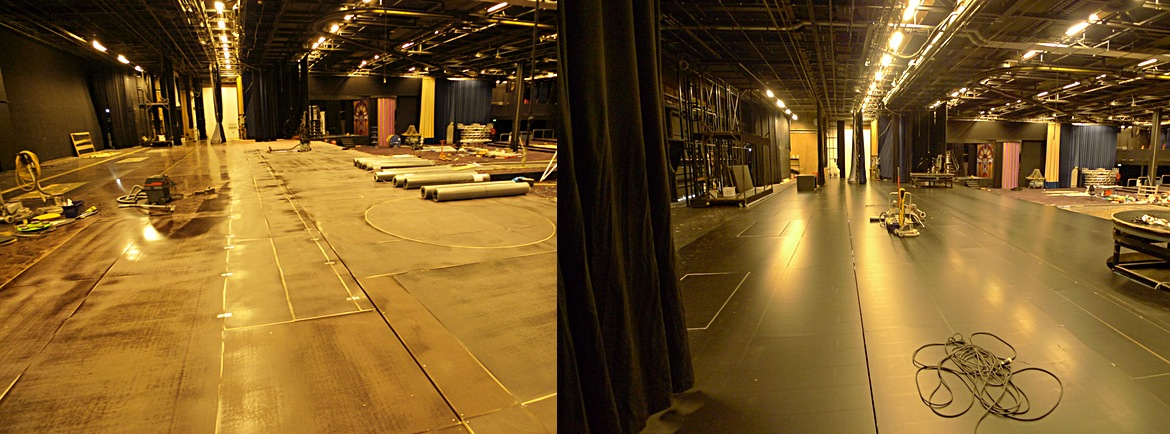 Stoffering 400m2 balletvloer voor studio 21 RTL, show De Dinnershow 21 on air
