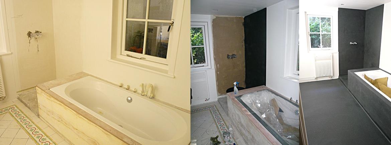 Buiten Latex Badkamer ~ Badkamer wanden en vloer toegepast met 3 Componenten kunststof troffel